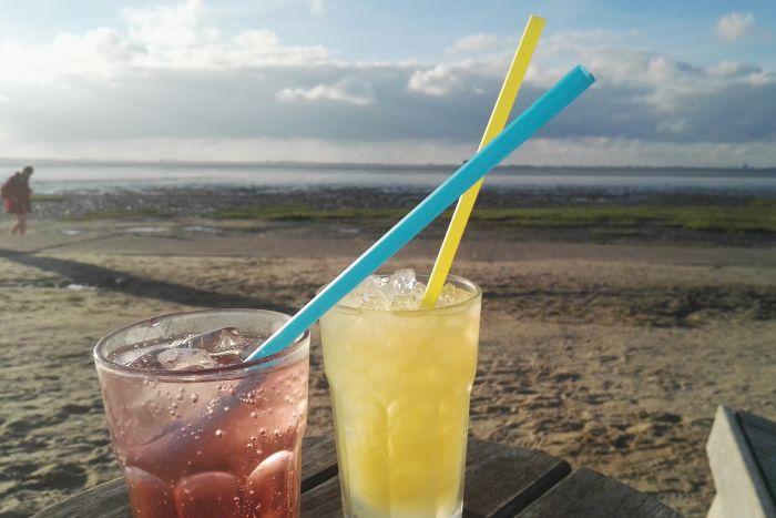 Zwei bunte Cocktails, im Hintergrund der Strand von Dangast und das Wattenmeer