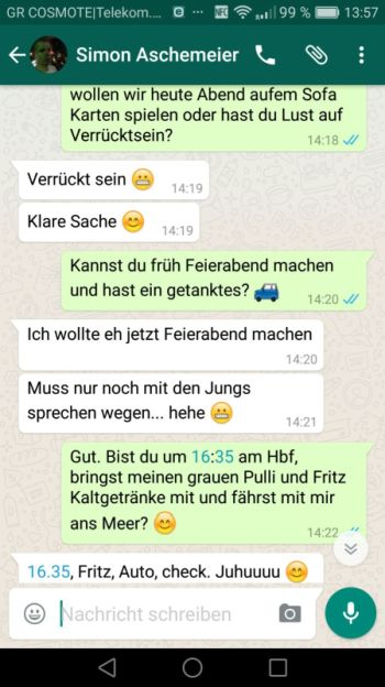 Konversation bei WhatsApp: Screenshot