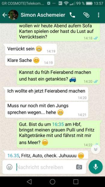 Konversation bei WhatsApp: Screenshot